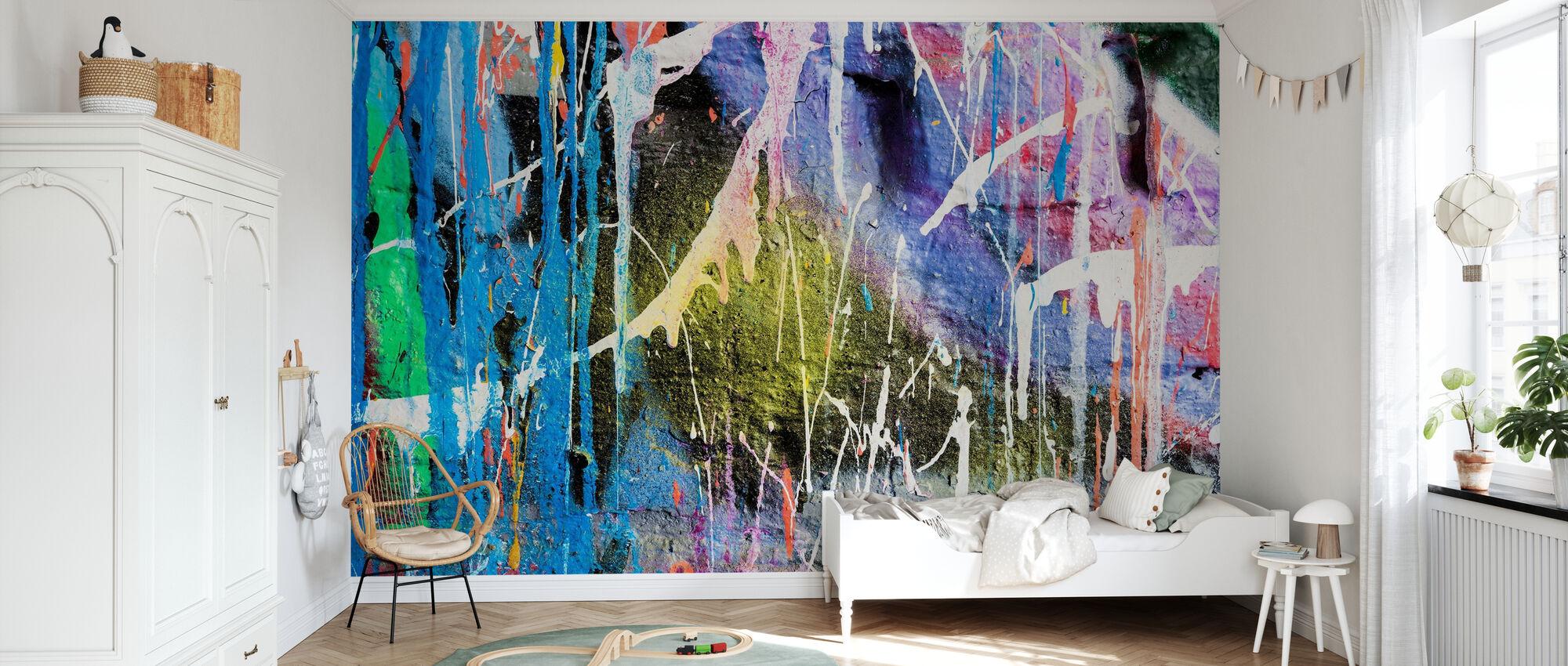 Mur de graffiti de peinture goutte à goutte - Papier peint - Chambre des enfants