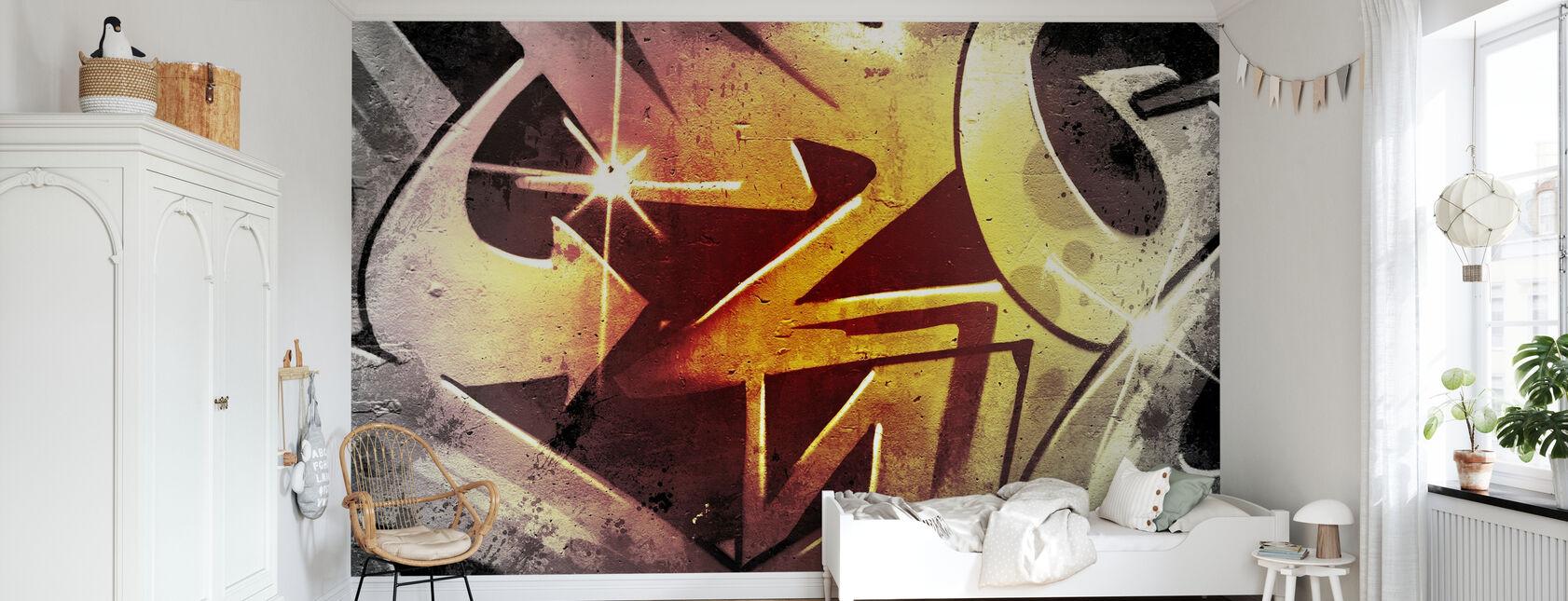 Graffiti vanhan likaisen muurin yli - Tapetti - Lastenhuone