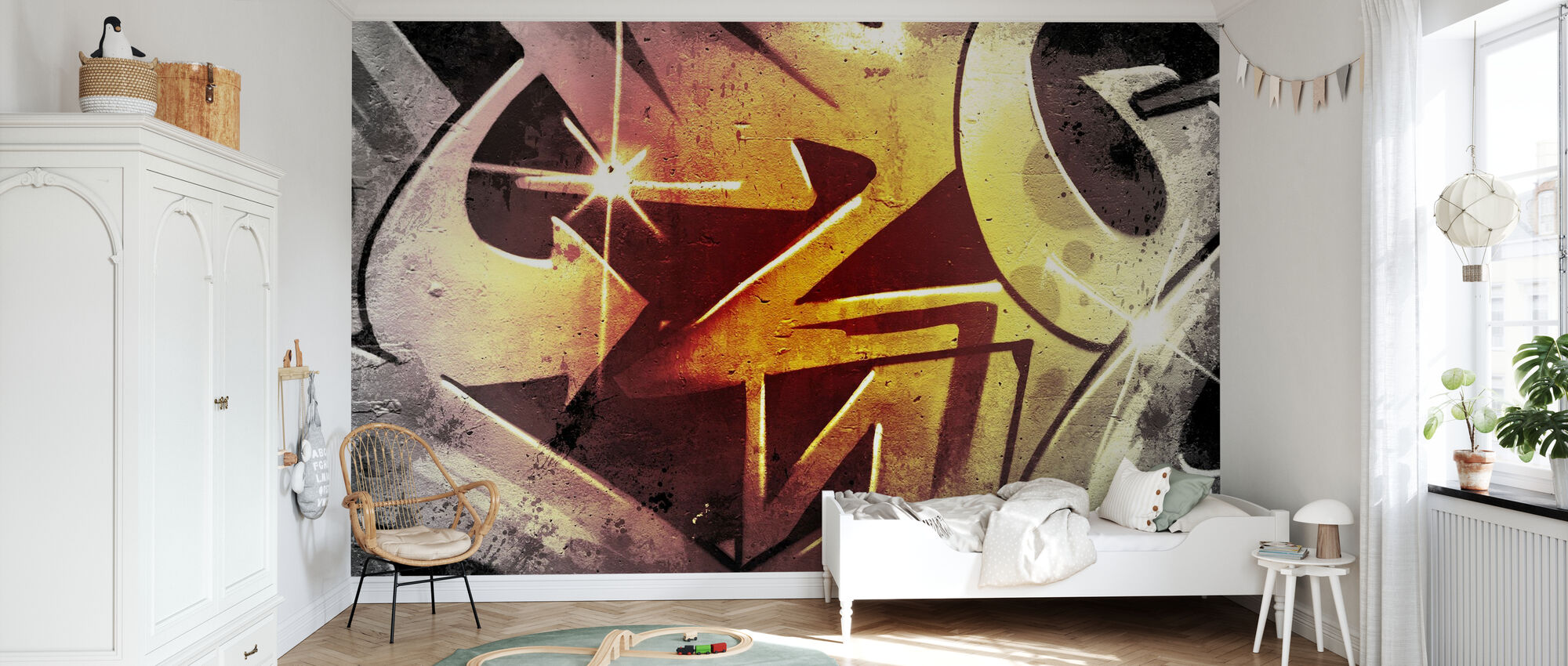 Graffiti over Old Dirty Wall - Wallpaper - Kids Room