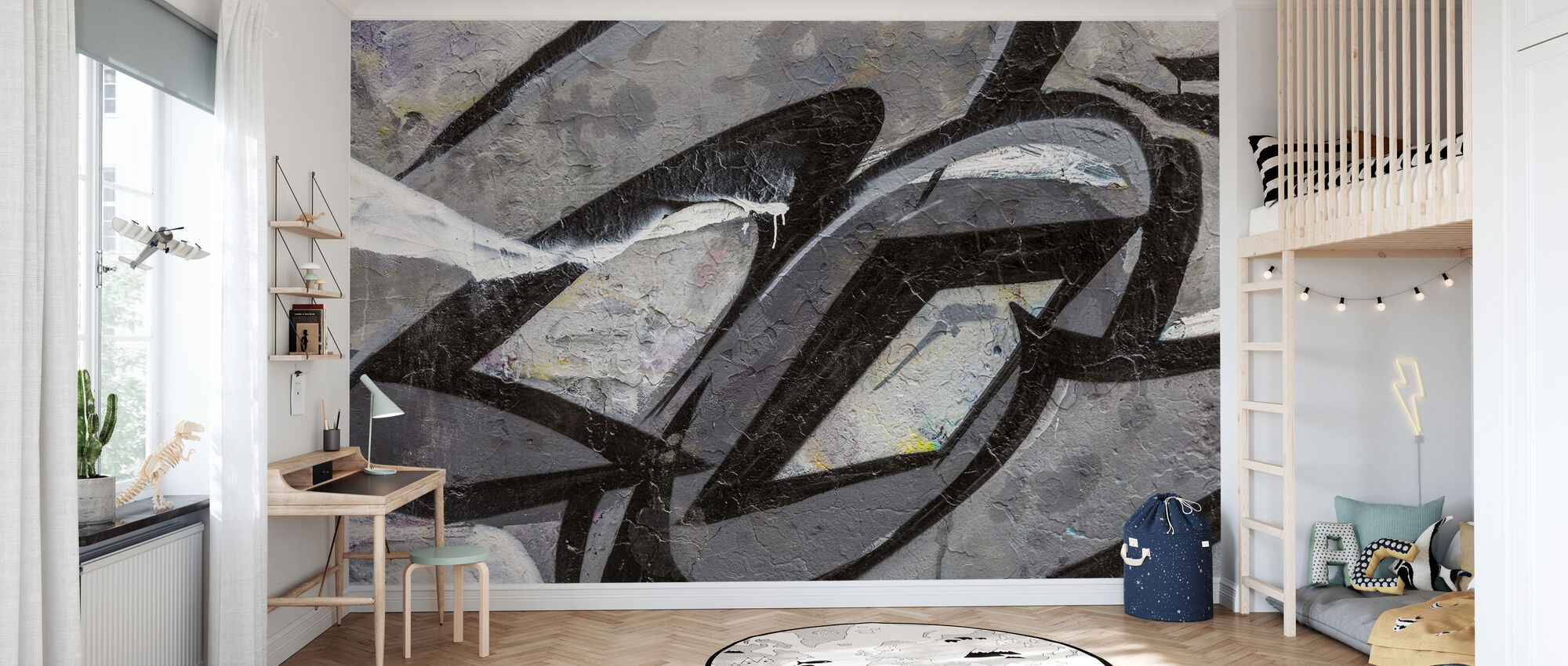 Graues Graffiti-Detail - Tapete - Kinderzimmer