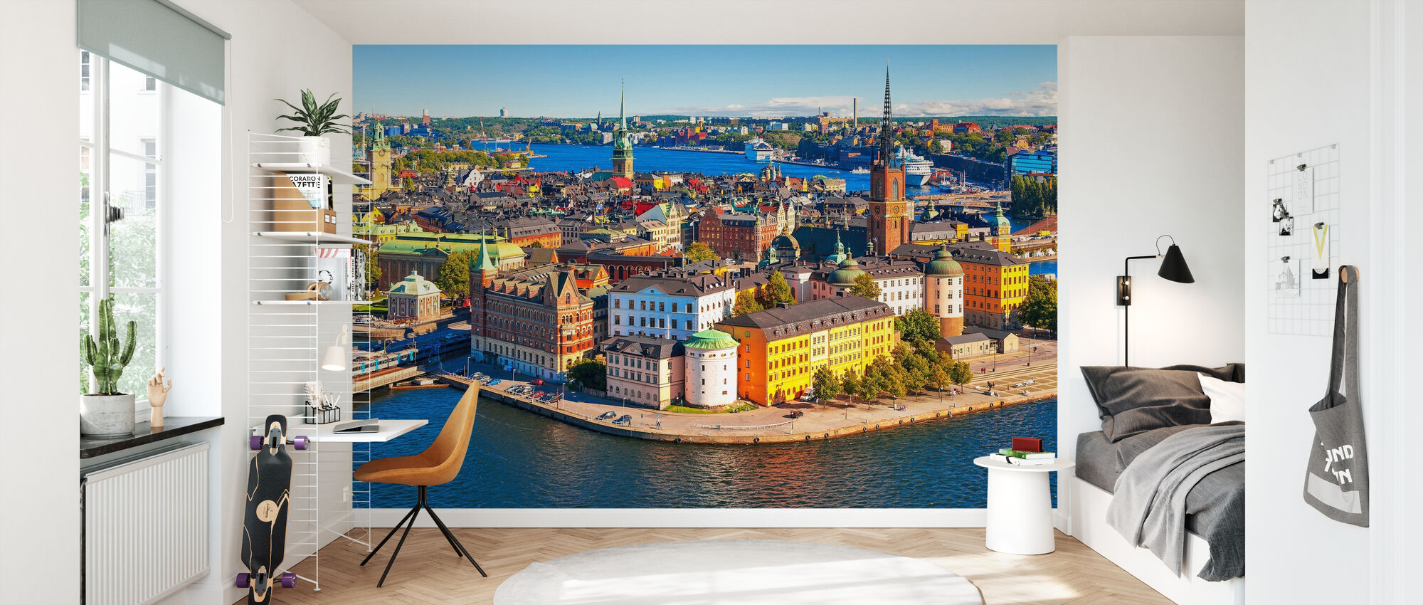 Panorama över Gamla stan i Stockholm - Tapet - Barnrum