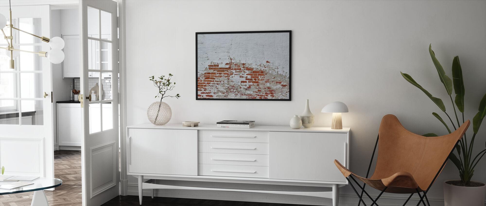 Punainen tiiliseinä sirotellaan valkoinen kipsi - Kehystetty kuva - Olohuone