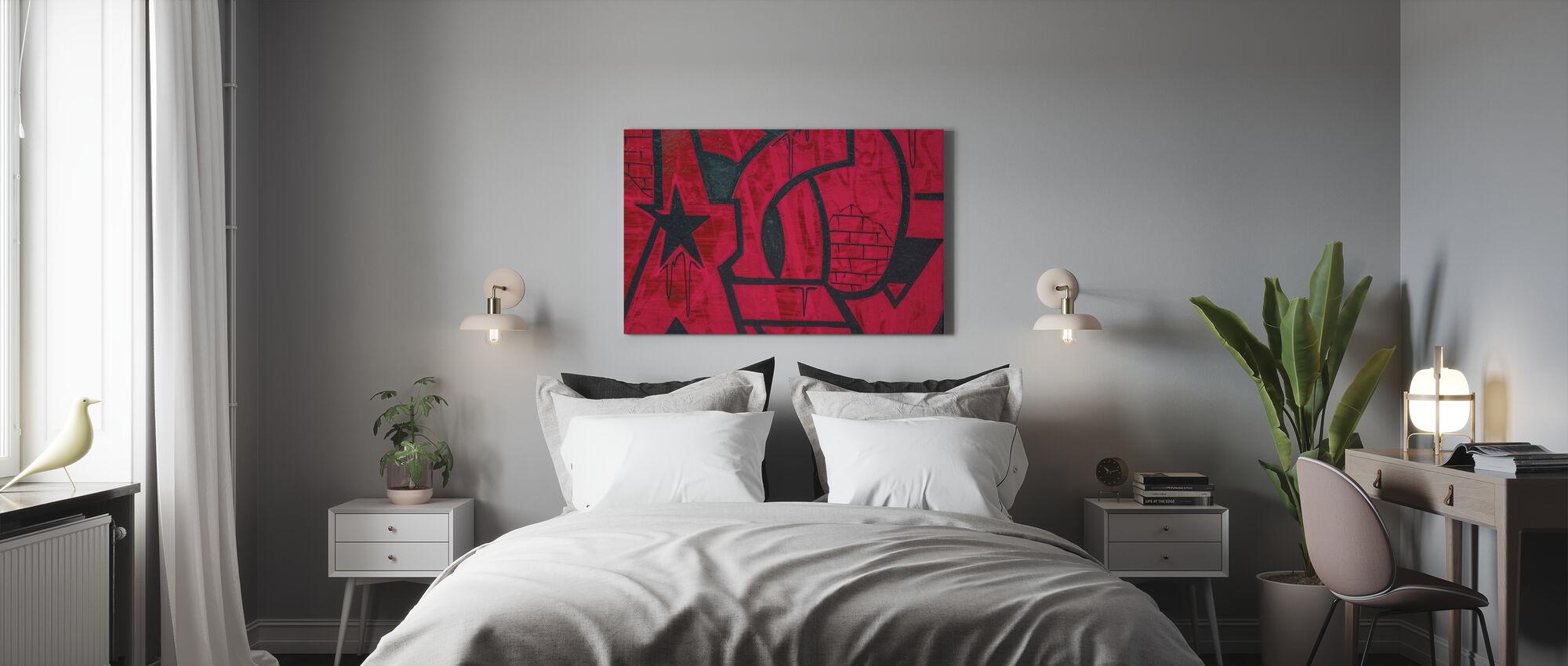 Rød detalj fra Graffiti-veggen - Lerretsbilde - Soverom
