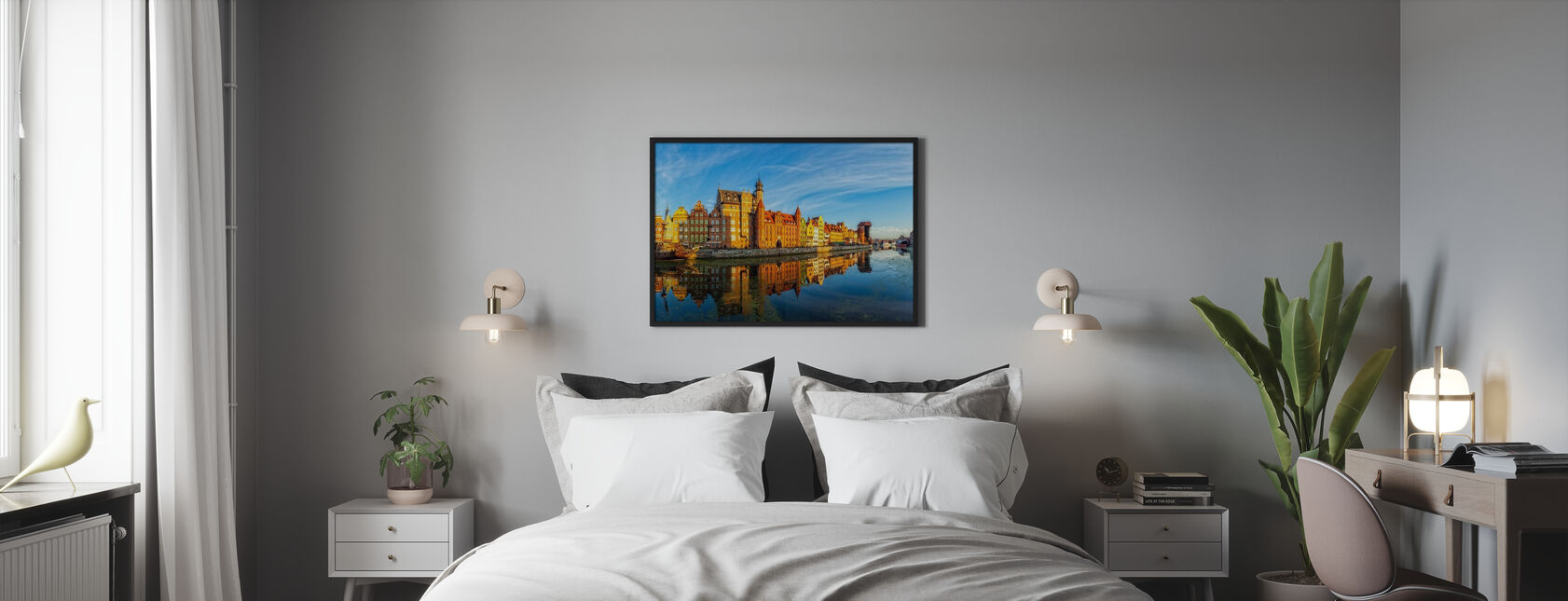Riverside of Gdansk - Framed print - Bedroom
