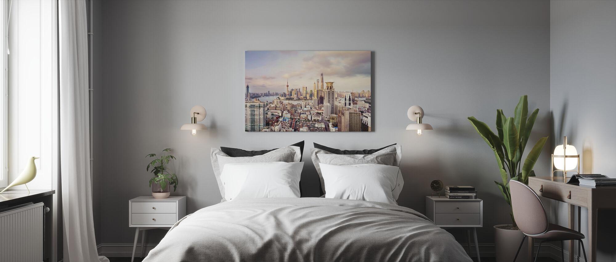 Skyline van Shanghai - Canvas print - Slaapkamer