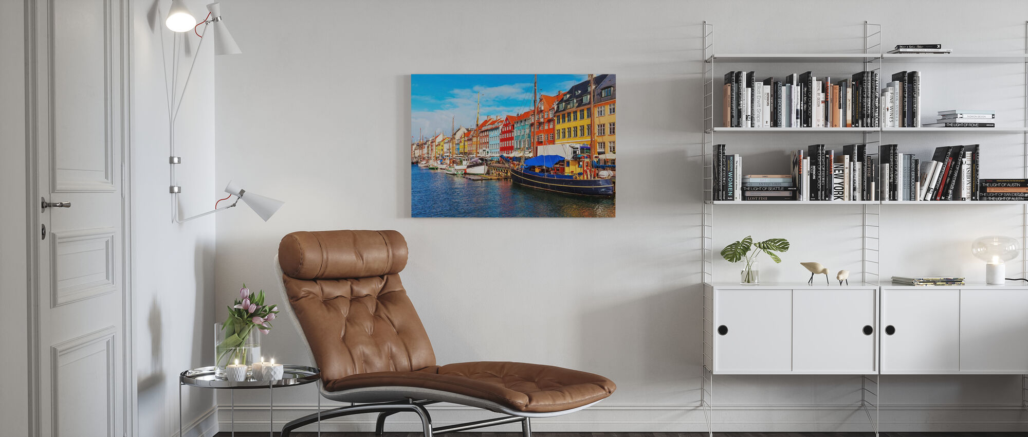 Summer View of Nyhavn Pier - Canvas print - Living Room