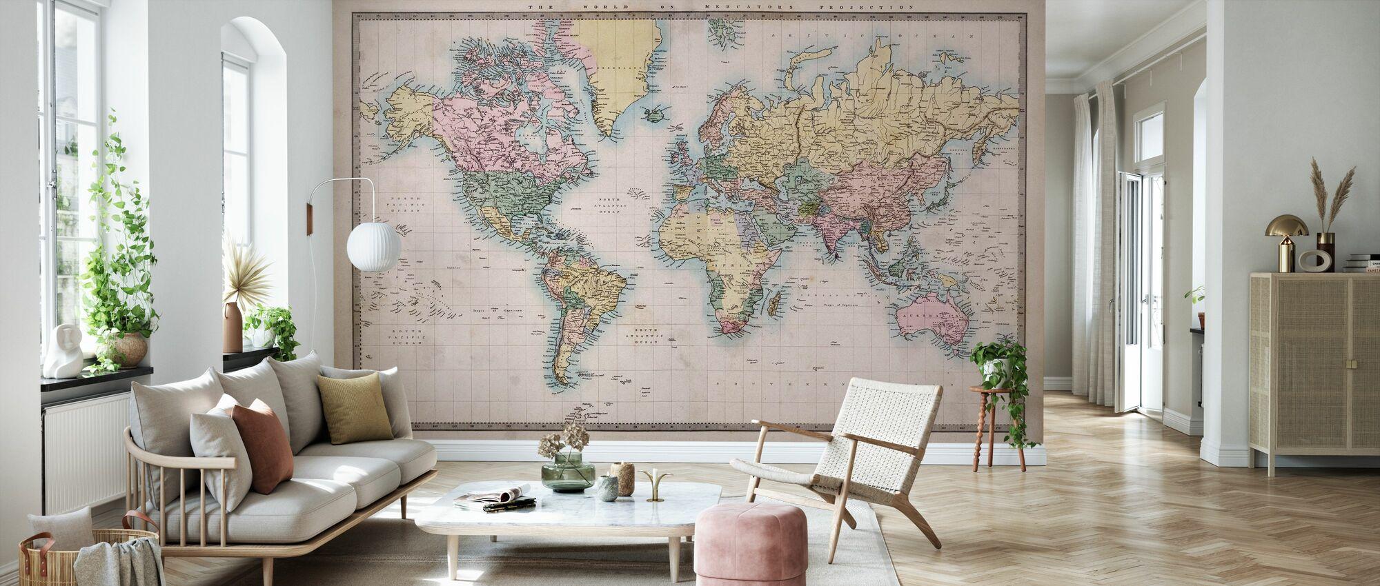 1860 Hand Coloured Map - Wallpaper - Living Room