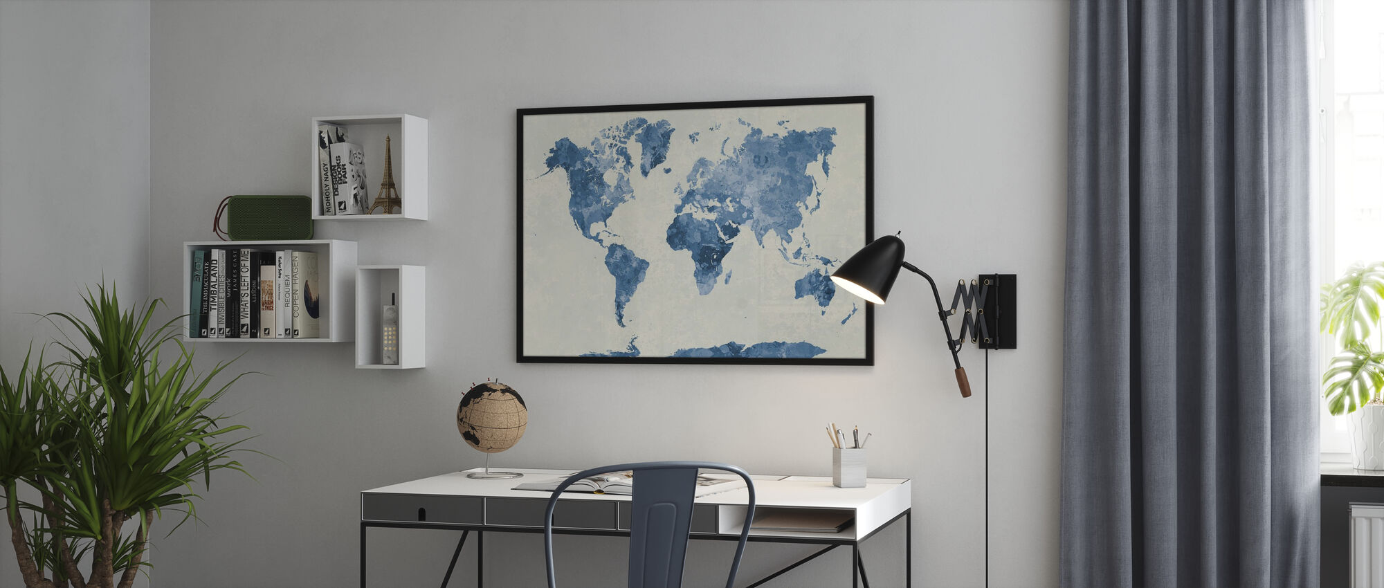Blue World in Watercolor - Poster - Office