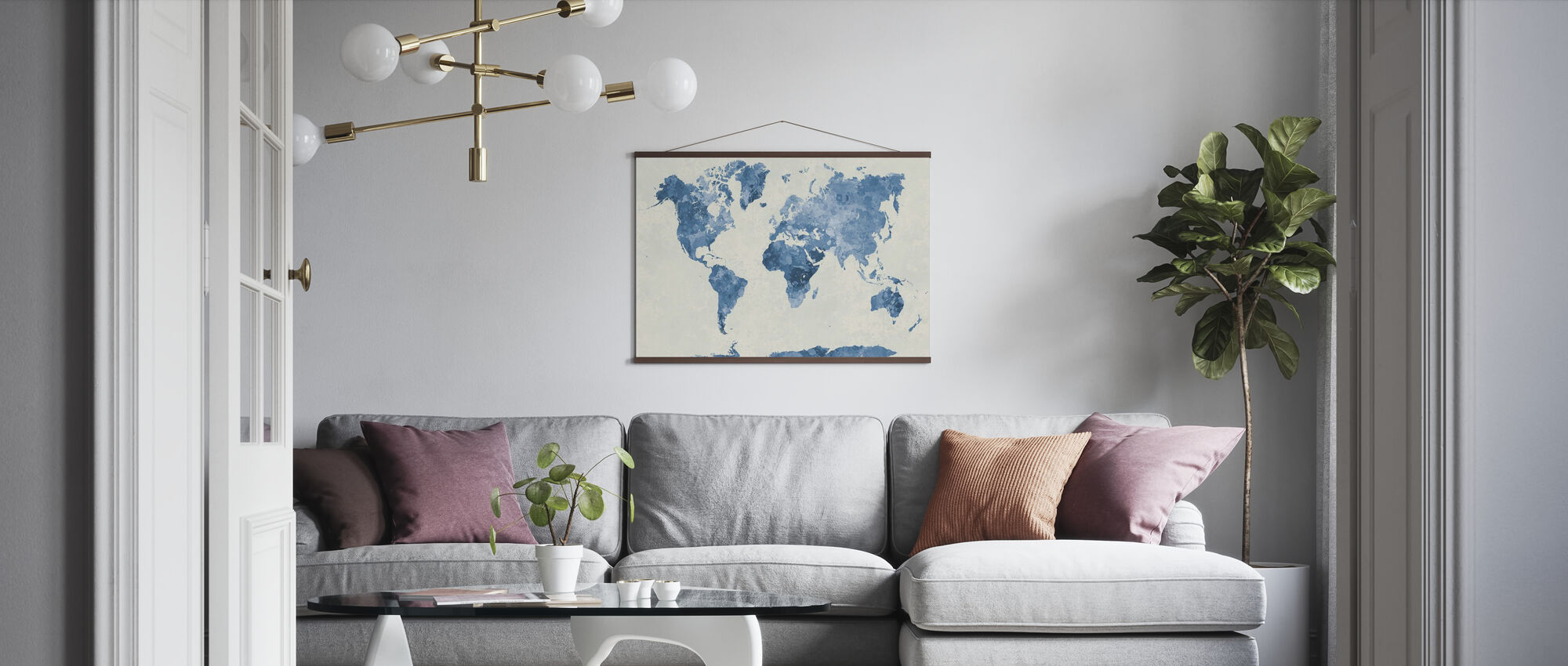 Blue World in Watercolor - Poster - Living Room