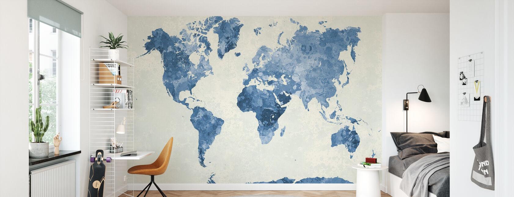 Sininen maailma akvarellissa - Tapetti - Lastenhuone