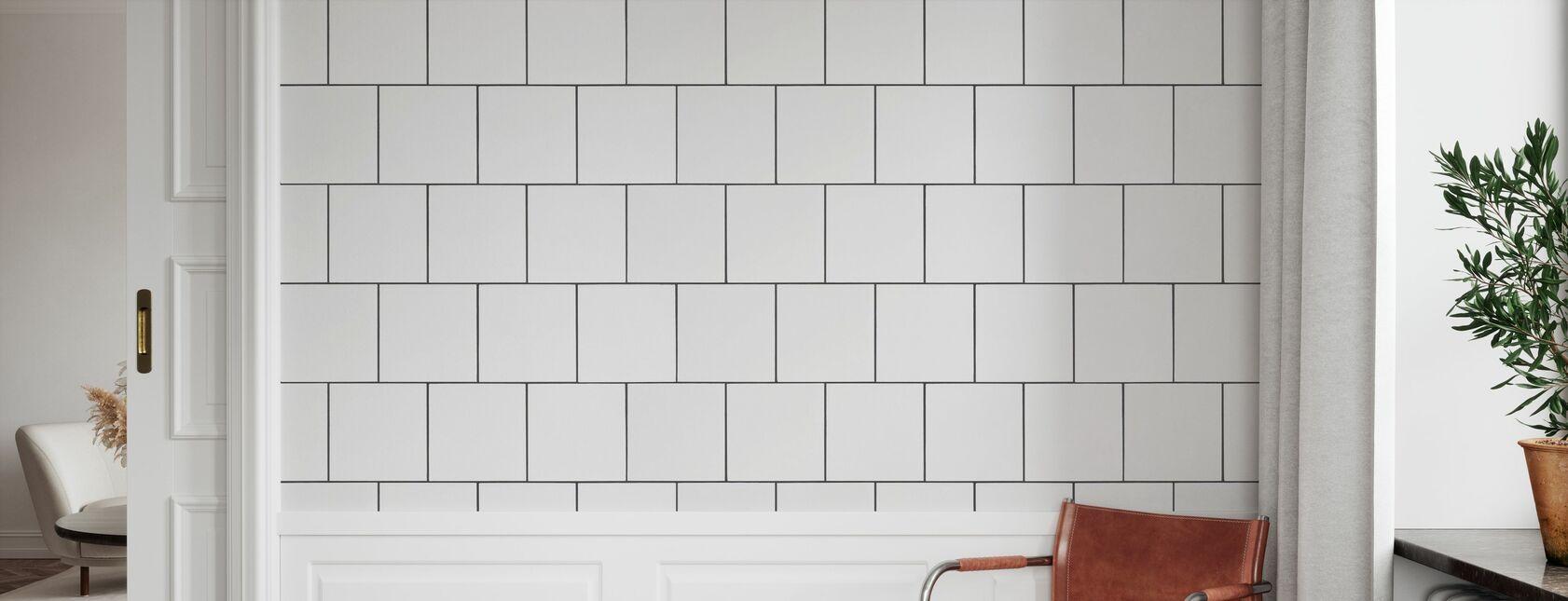 Vita plattor med svarta injekteringsbruk 20 '20 - Tapet - Hall