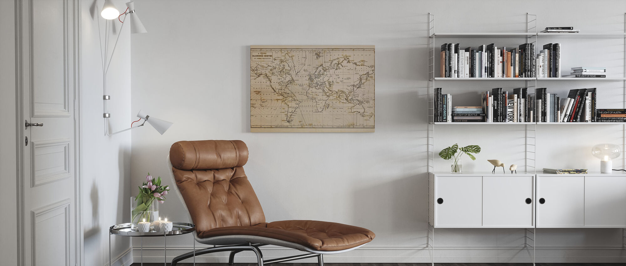 Patinated Hand Drawn Map - Canvas print - Living Room