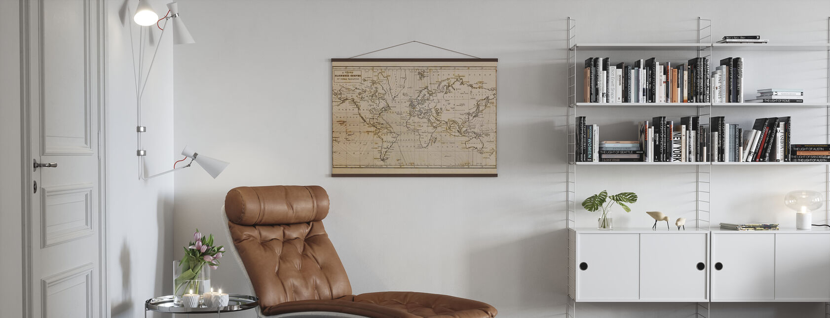 Patinated Hand Drawn Map - Poster - Living Room