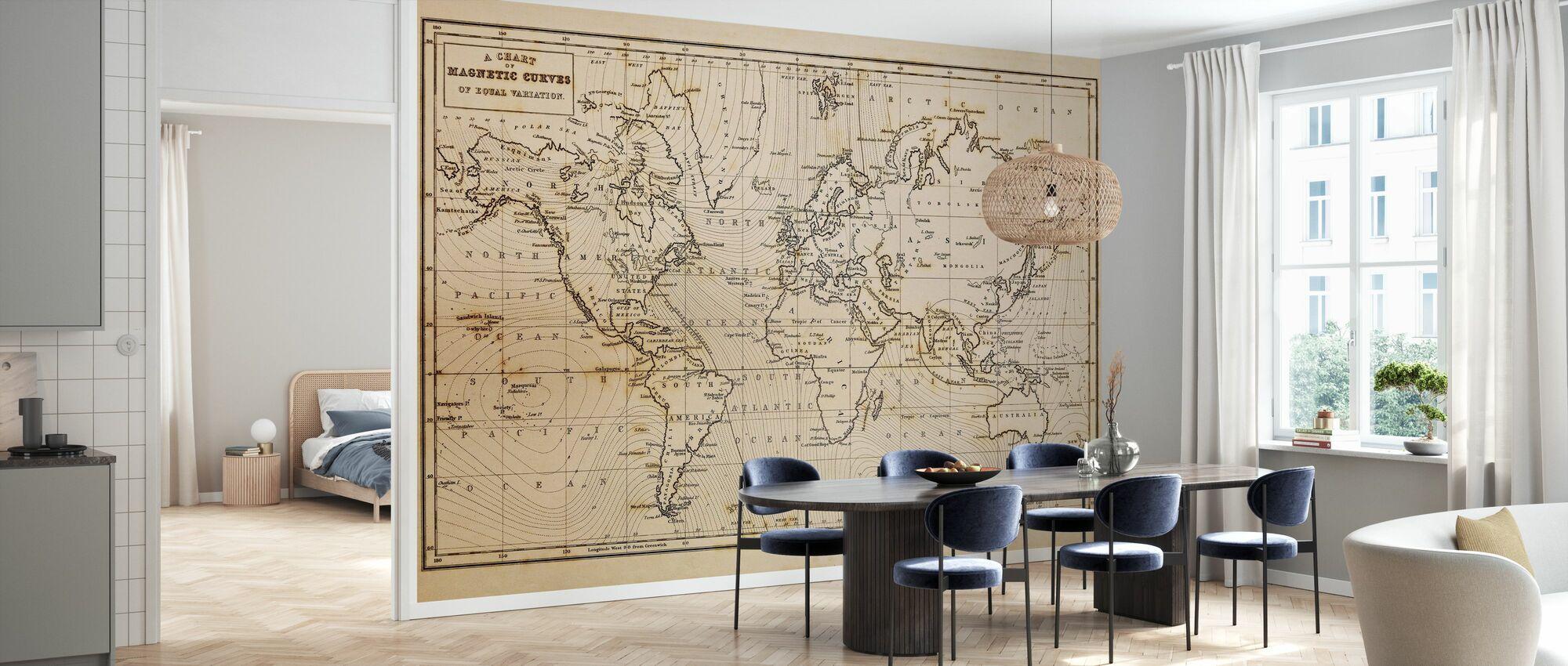 Patinated Hand Drawn Map - Wallpaper - Kitchen