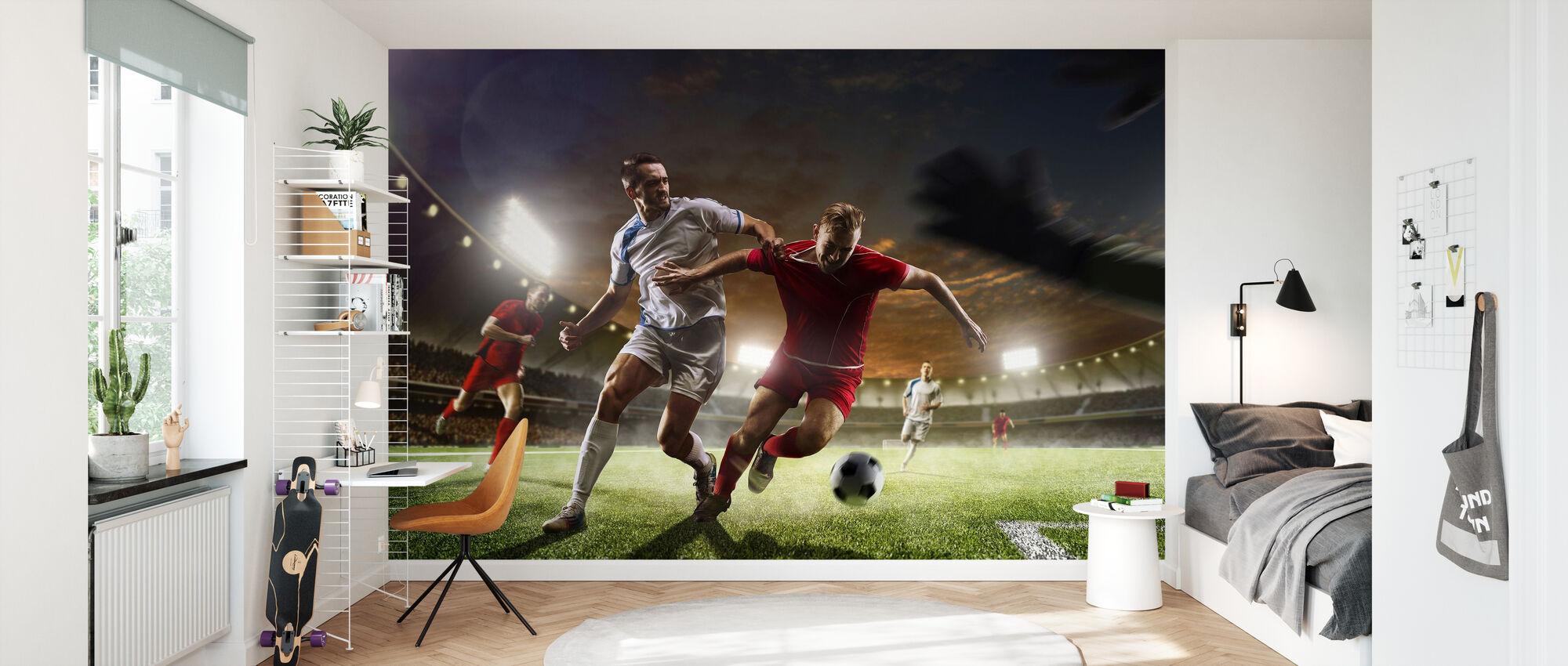 Playing Soccer - Wallpaper - Kids Room