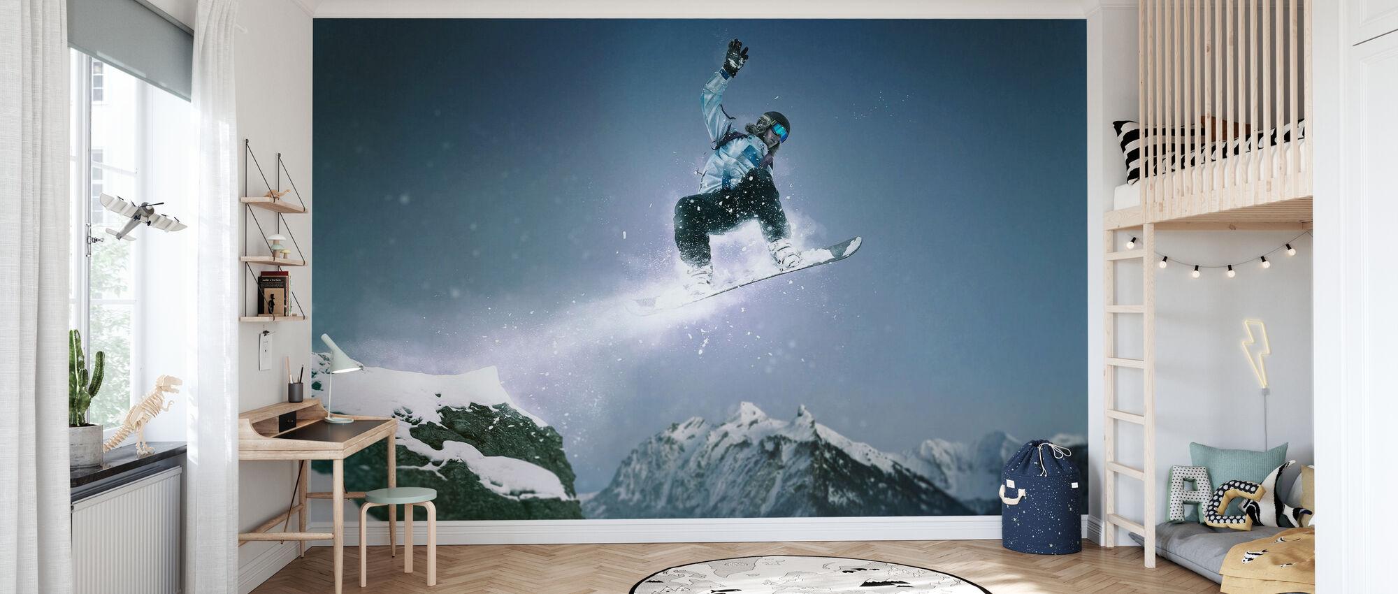 Snowboard Methode Grijper - Behang - Kinderkamer