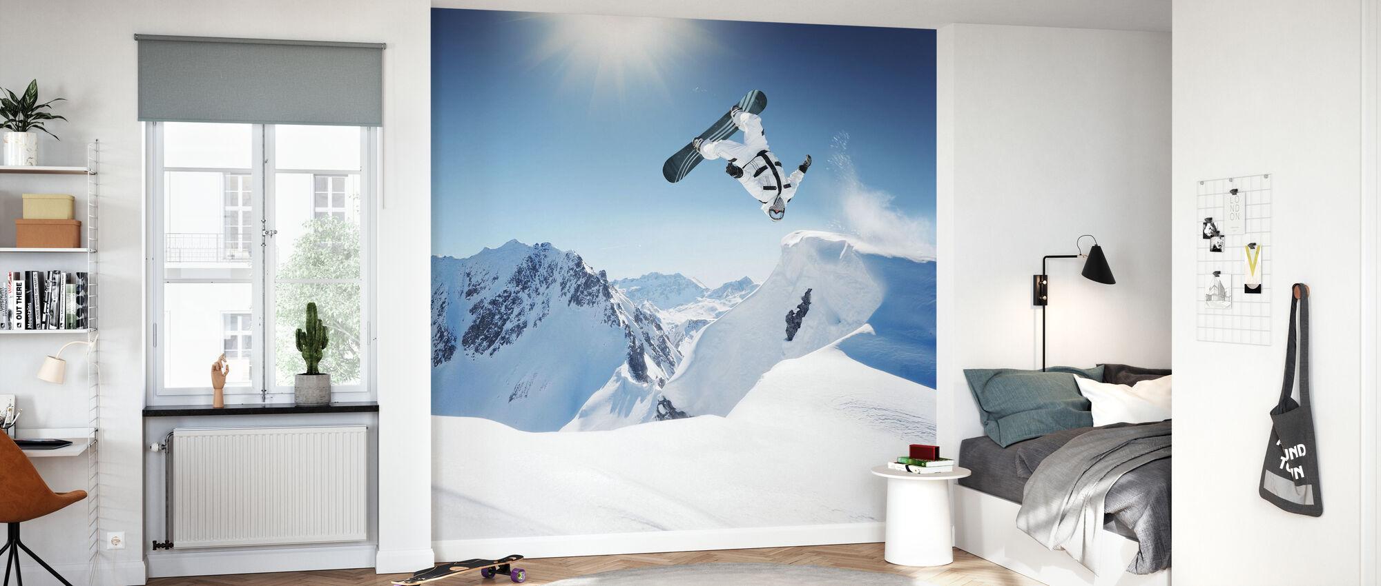 Snowboarder Backflip - Tapet - Barnrum