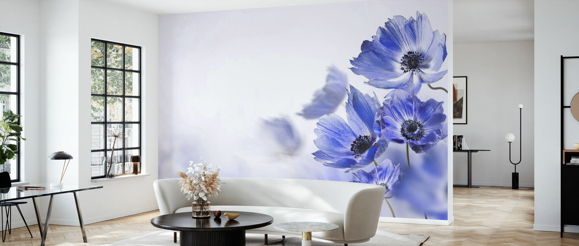 Gloaming Blue Flowers - Wallpaper - Living Room