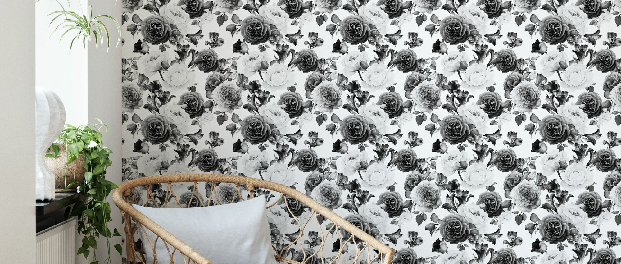 Grey Roses - Wallpaper - Living Room