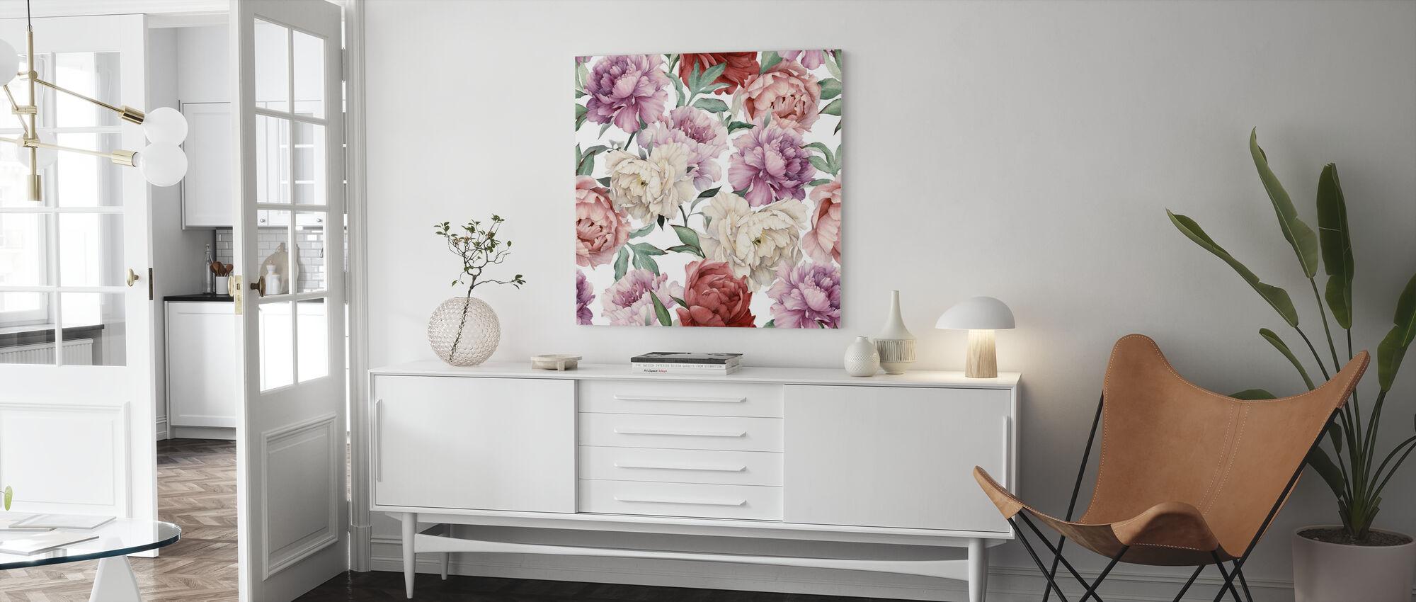 Sweet Peonies - Canvas print - Living Room