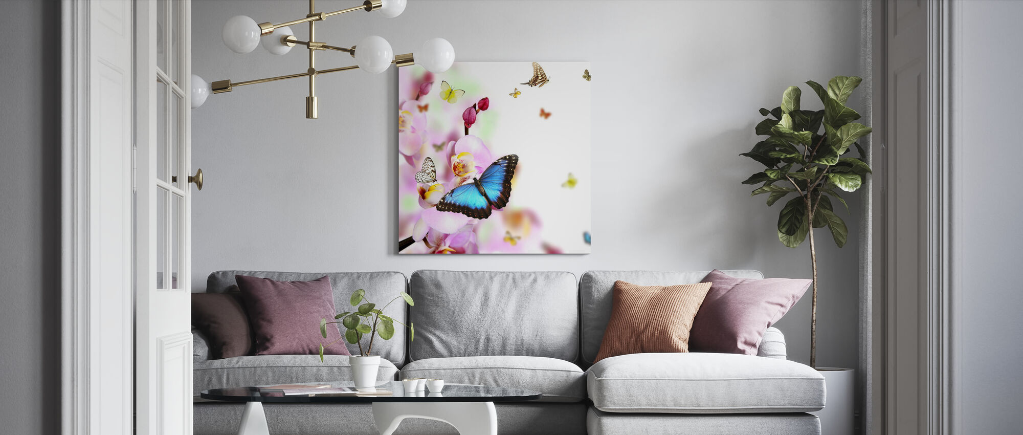 Butterflies and Orchid Blossoms - Canvas print - Living Room
