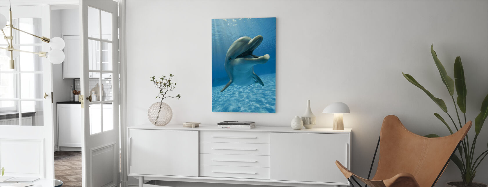 Encounter with Dolphin - Canvas print - Living Room
