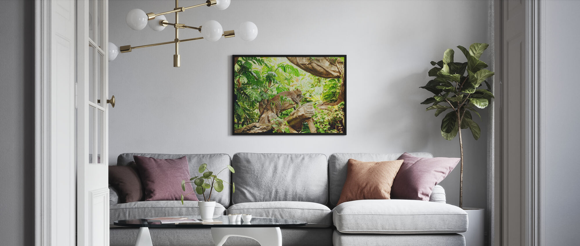 Leopard Dozing in the Jungle - Framed print - Living Room