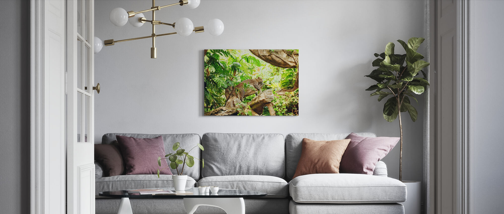Leopard Dozing in the Jungle - Canvas print - Living Room