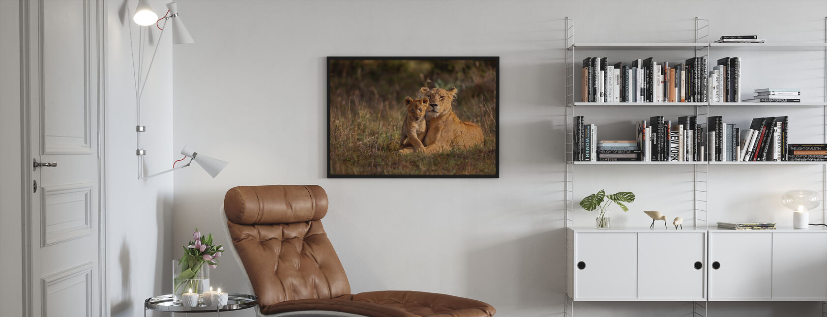 Lion Mother and Cub - Poster - Living Room