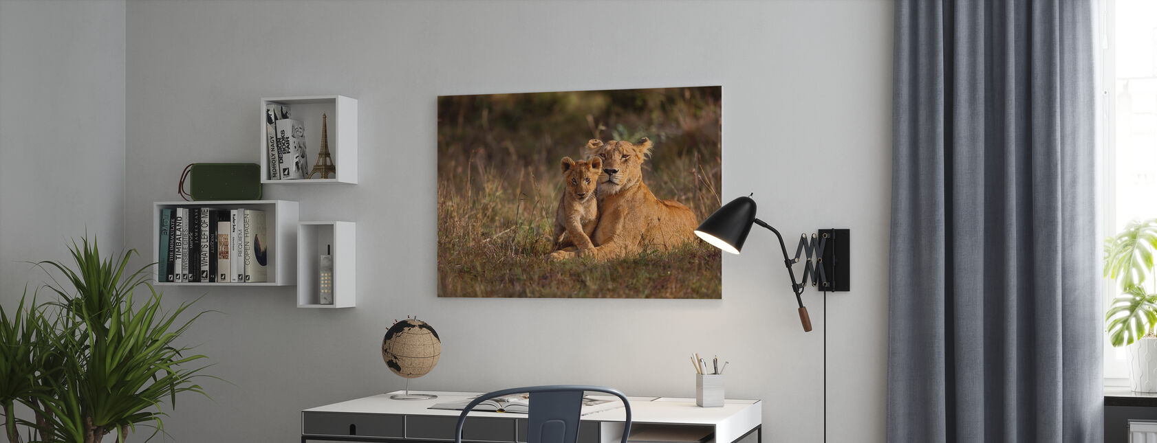 Lion Mother and Cub - Canvas print - Office