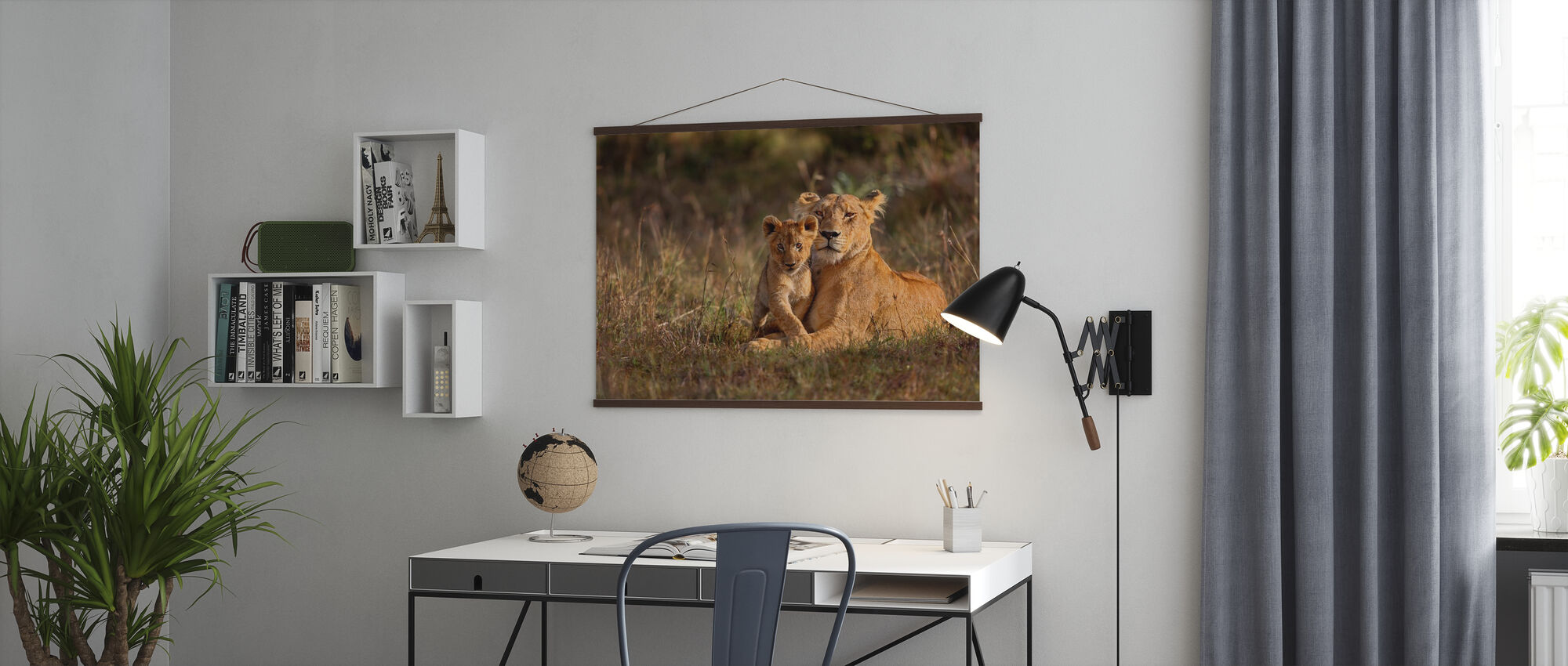 Lion Mother and Cub - Poster - Office