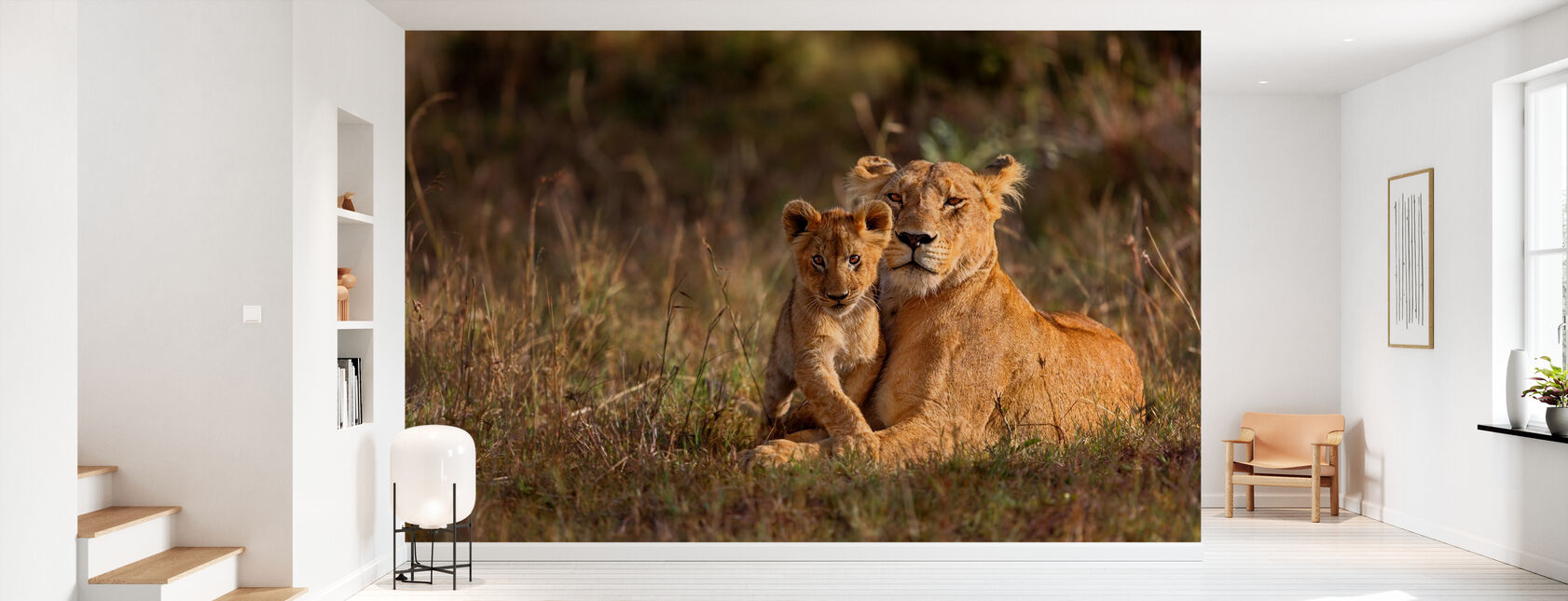 Lion Mother and Cub - Wallpaper - Hallway