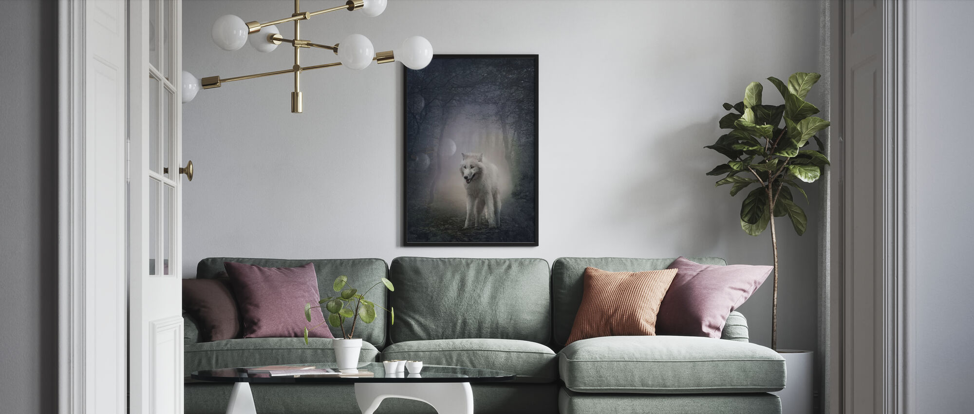 White Wolf in the Night Forest - Framed print - Living Room