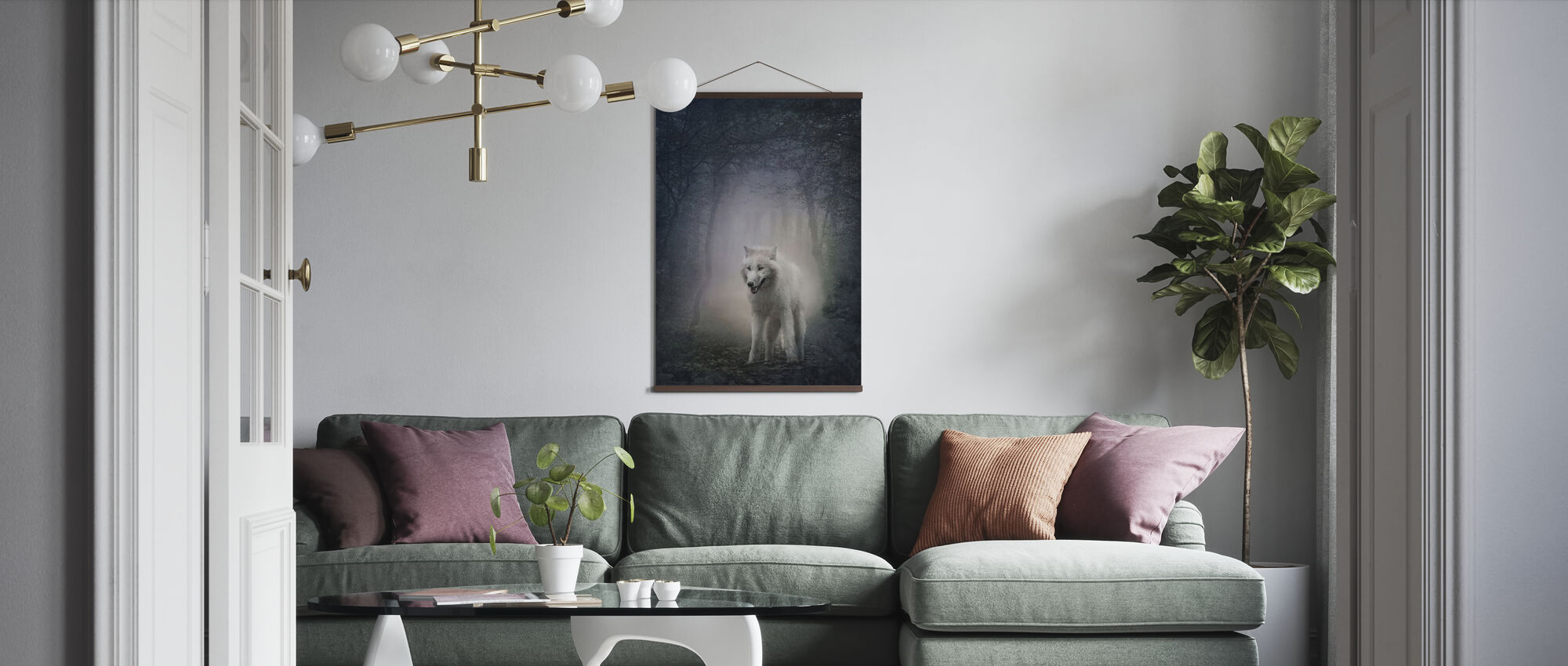 White Wolf in the Night Forest - Poster - Living Room