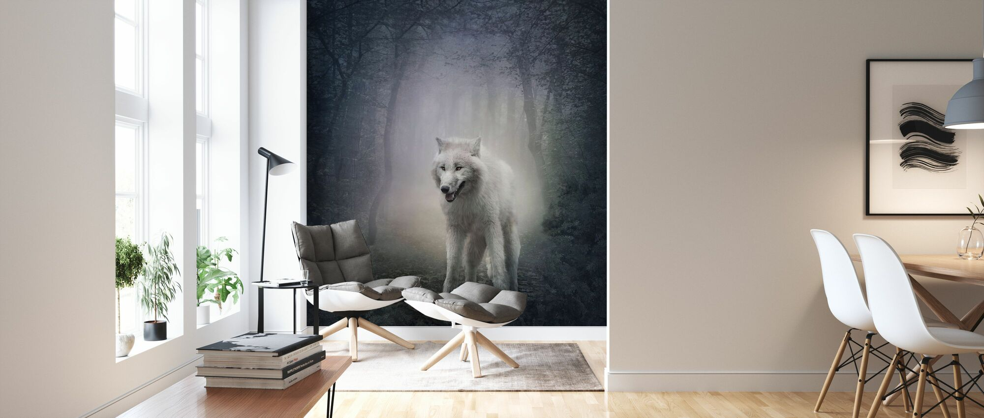 White Wolf in the Night Forest - Wallpaper - Living Room