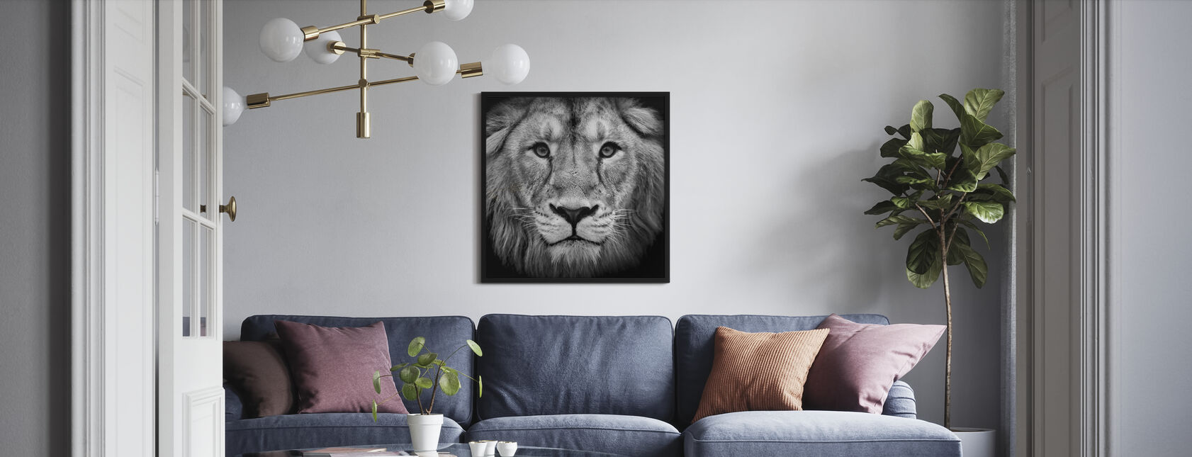 Wise Lion, schwarz/weiß - Gerahmtes bild - Wohnzimmer