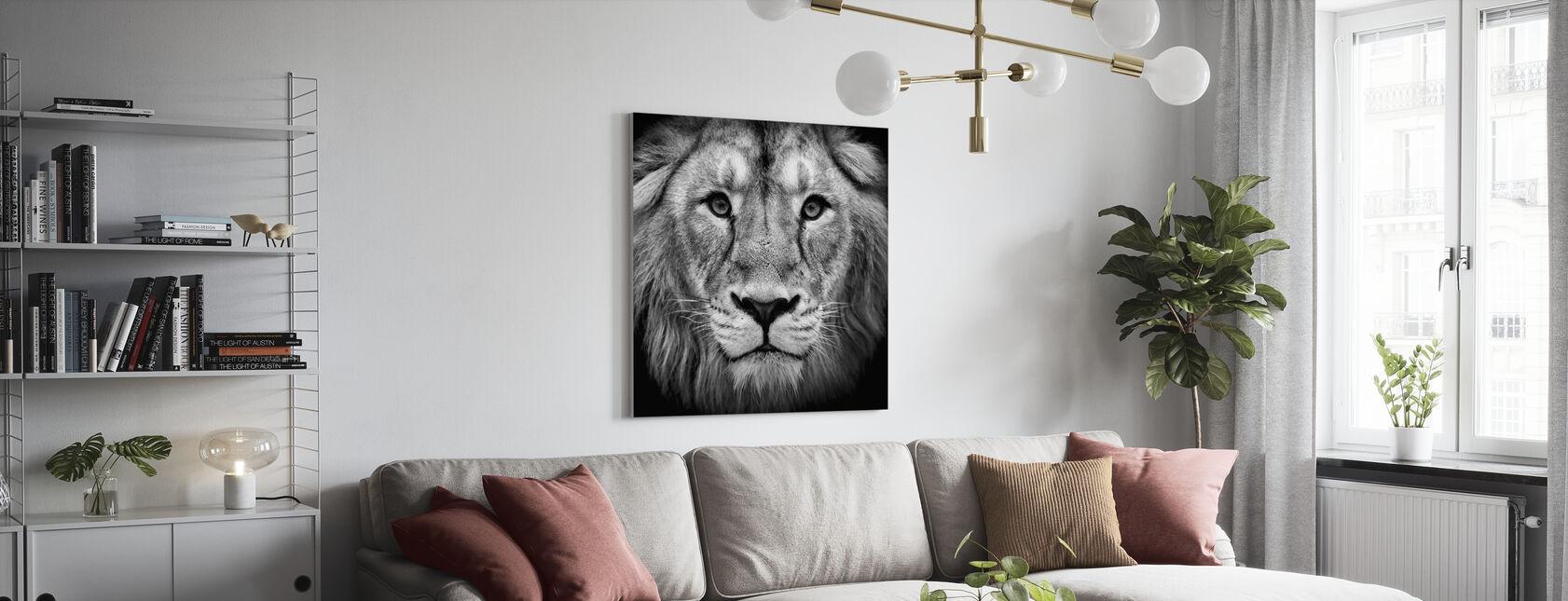 León sabio, negra y blanca - Lienzo - Salón