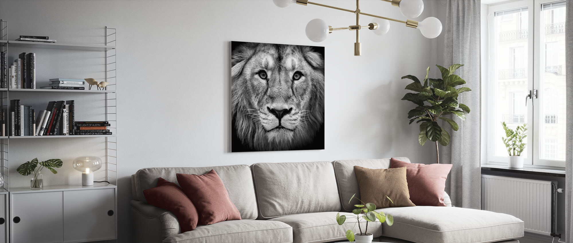 Wise Lion, svart och vitt - Canvastavla - Vardagsrum