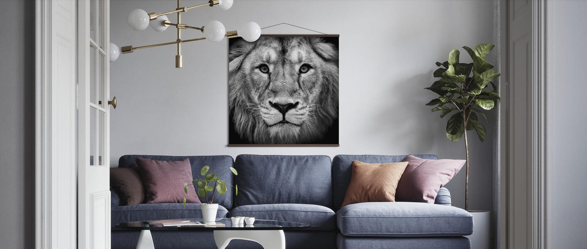 Wise Lion, schwarz/weiß - Poster - Wohnzimmer
