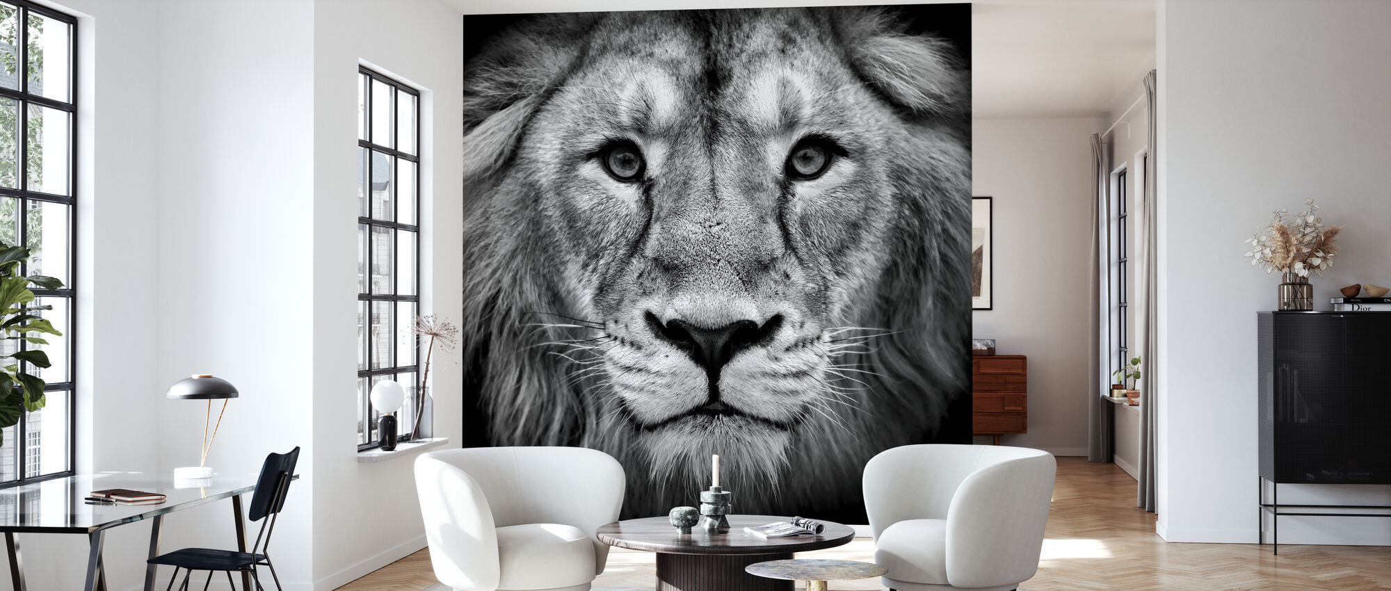 Wise Lion, black and white - Wallpaper - Living Room