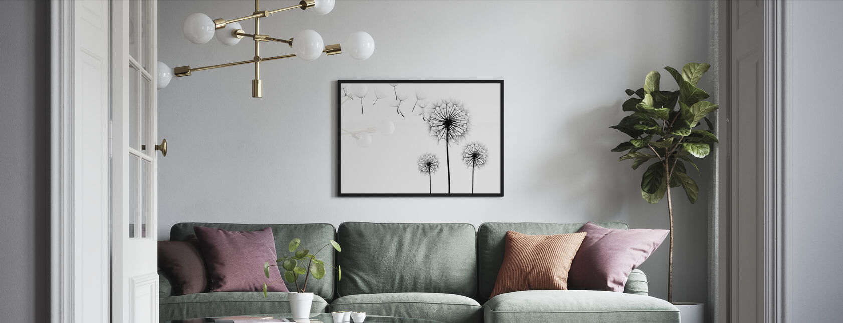 Silhouette of Dandelions Seeds, black and white - Framed print - Living Room