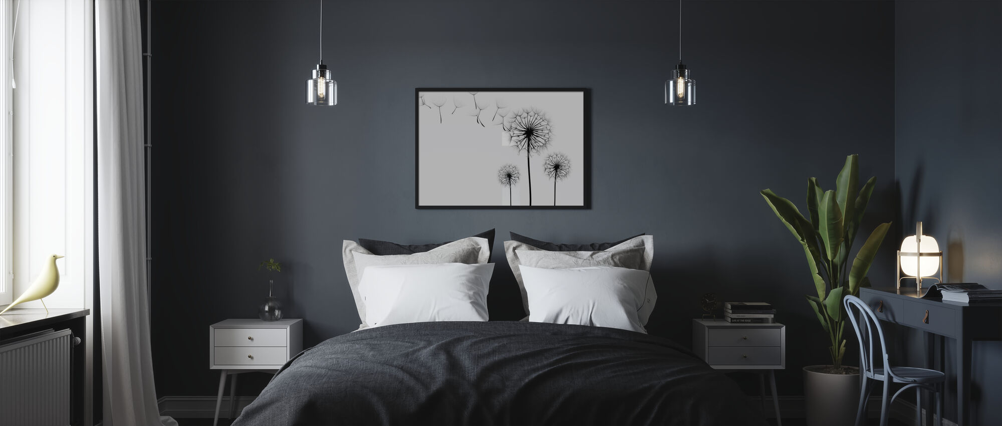 Silhouette of Dandelions Seeds, black and white - Poster - Bedroom