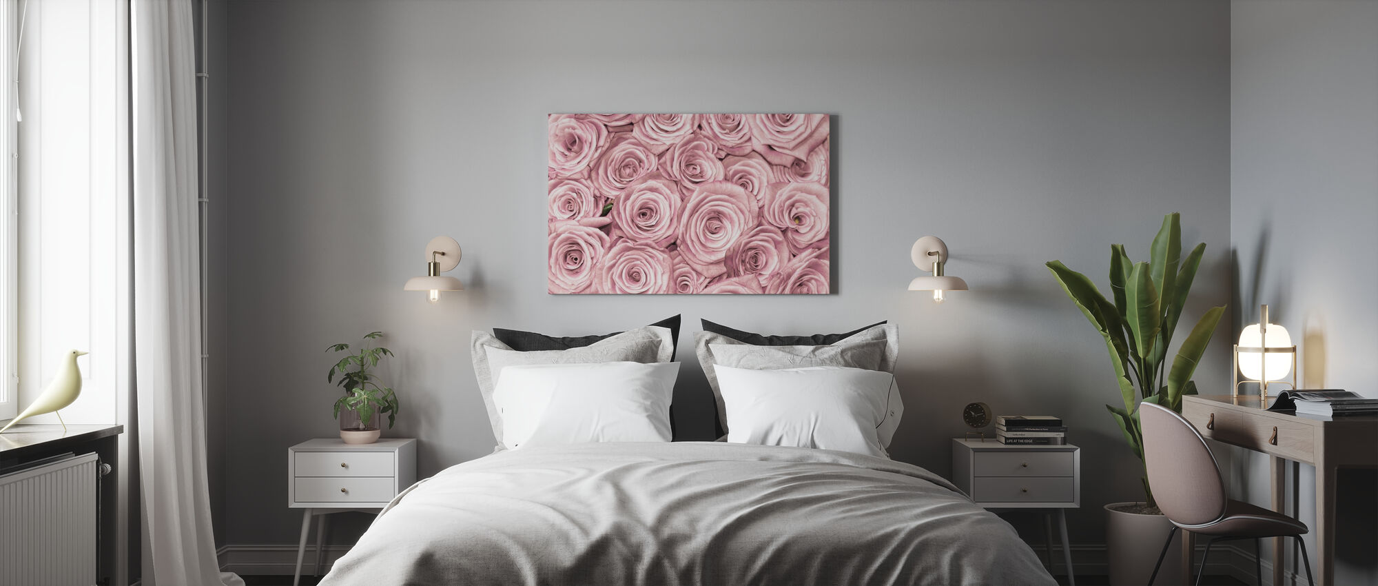 Wall of Roses - Canvas print - Bedroom