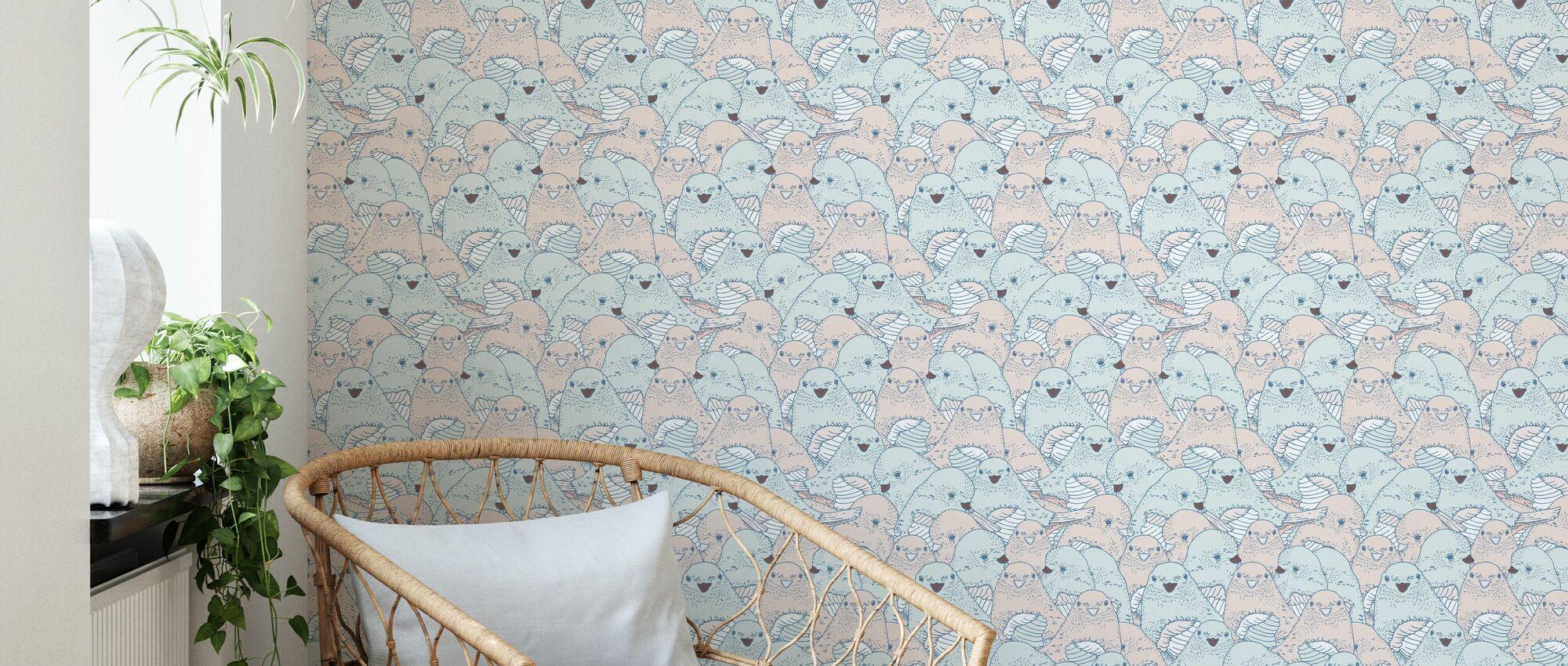 Lovebirds Velvet Sharp - Wallpaper - Living Room