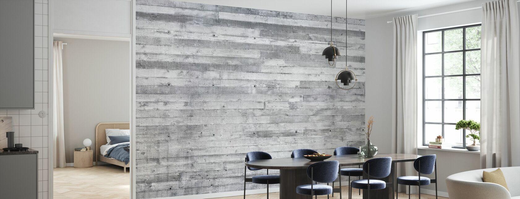 Betong Wall Horisontale Planker - Tapet - Kjøkken