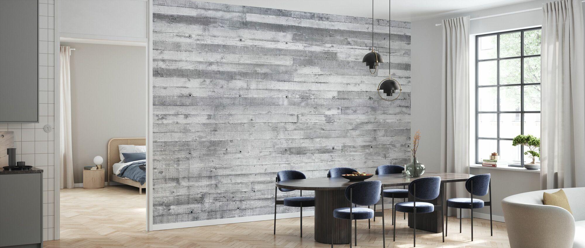 Concrete Wall Horizontal Planks - Wallpaper - Kitchen