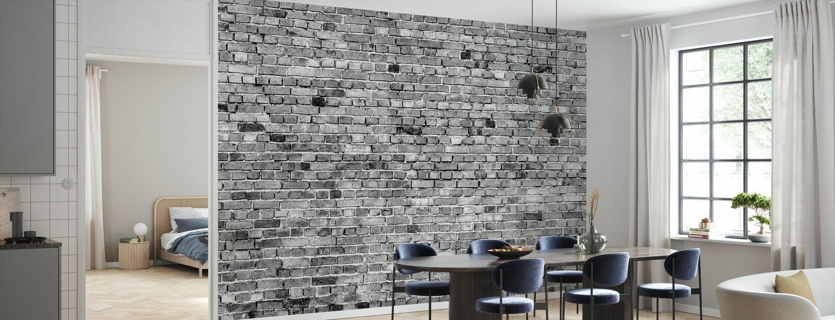 Stockholm murvegg - svart og hvitt - Tapet - Kjøkken
