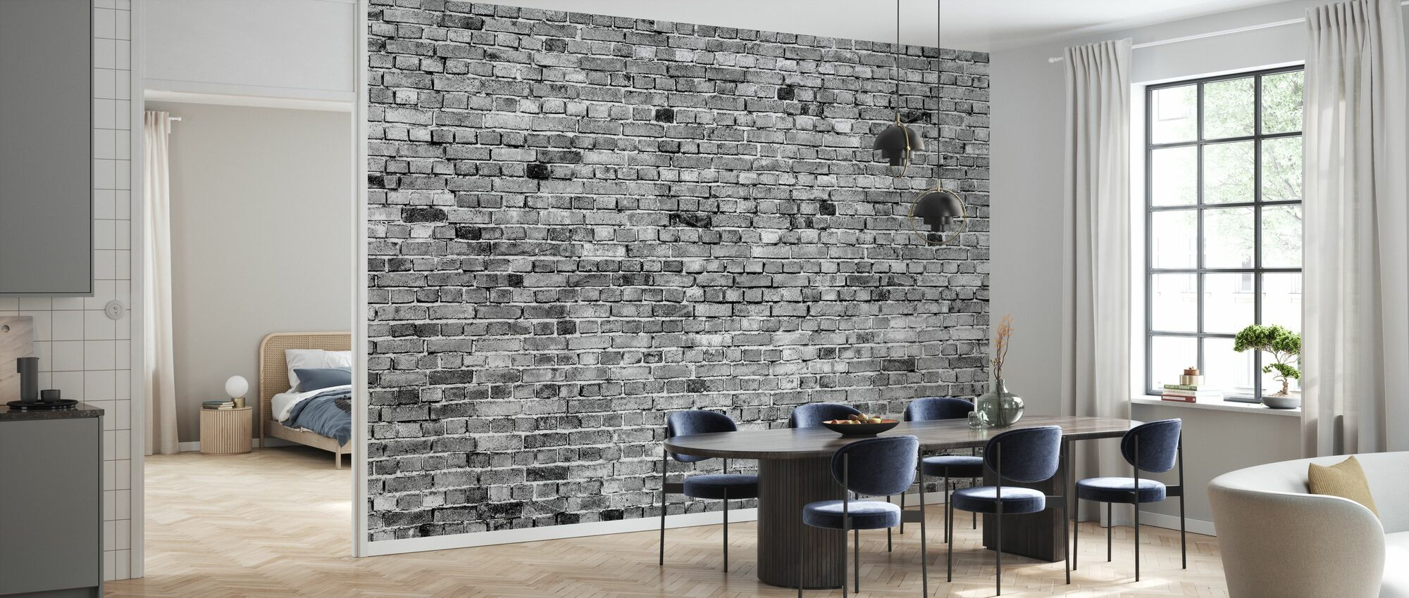 Stockholm Brick Wall - Black and White - Wallpaper - Kitchen