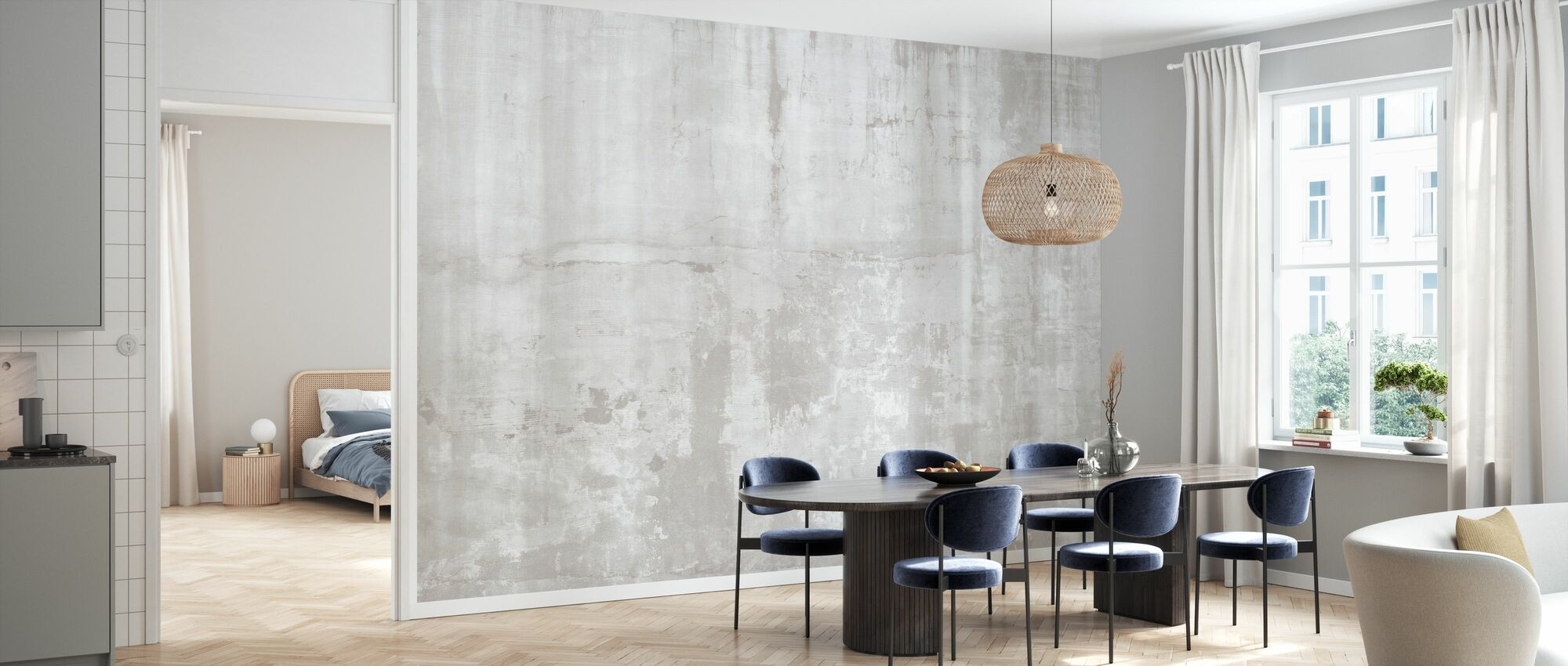 Weathered Concrete Wall - Light - Wallpaper - Kitchen