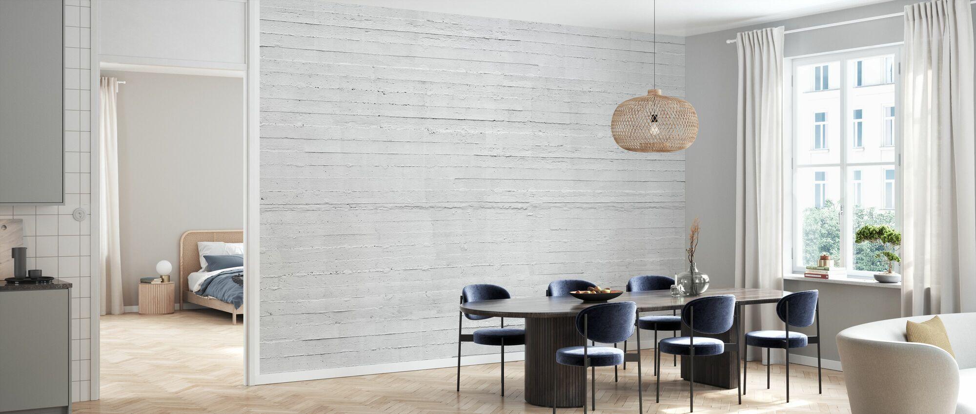 White Concrete Wall - Wallpaper - Kitchen